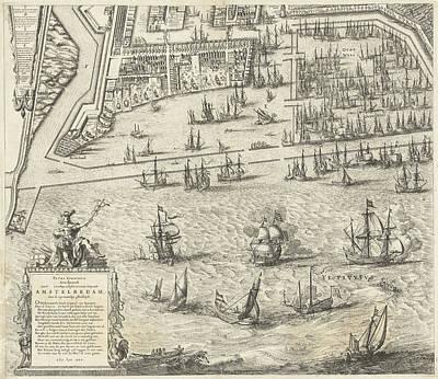 Map Of Amsterdam, The Netherlands, Leaf Left Art Print