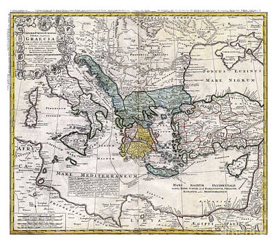 Old Map Painting - Map Of Ancient Greece And The Eastern Mediterranean By Heirs Homann - 1741 by Pablo Romero