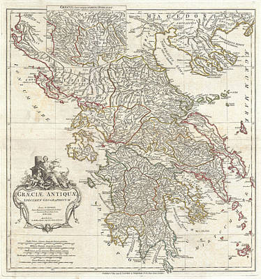 Drawing - Map Of Ancient Greece by Jean-Baptiste Bourguignon d'Anville