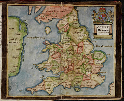 Particular Photograph - Map Of Anglia Regni by British Library