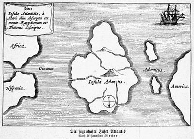 Atlantis Painting - Map Of Atlantis, 1678 by Granger