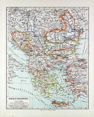 Romania Drawing - Map Of Austria-hungary Greece Serbia Bosnia And Herzegovina by Austrian School
