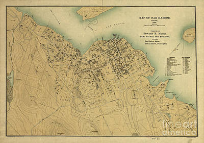 Photograph - Map Of Bar Harbor Maine 1896 by Edward Fielding