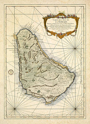 Vintage Map Photograph - Map Of Barbados 1758 by Andrew Fare