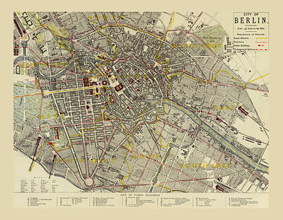Map Of Berlin 1883 Art Print by Andrew Fare