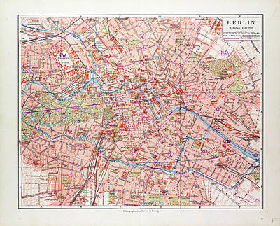 Berlin Germany Drawing - Map Of Berlin Germany 1899 by German School