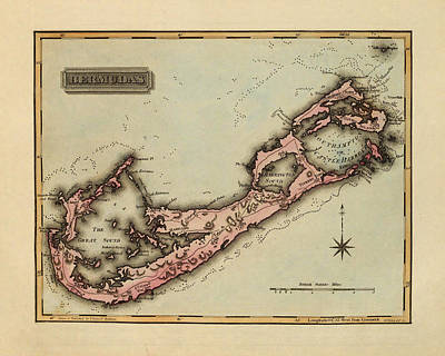Vintage Map Photograph - Map Of Bermuda 1823 by Andrew Fare