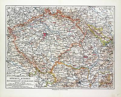 Czech Drawing - Map Of Bohemia Czech Republic 1899 by English School