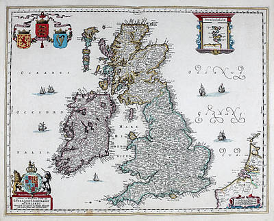 North Wales Mixed Media - Map Of British Isles - 1665 by Charlie Ross