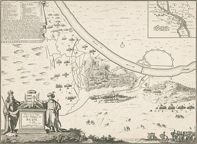 Loon Drawing - Map Of Buda, 1686, Harmanus Van Loon, Lodewijk Xiv King by Harmanus Van Loon