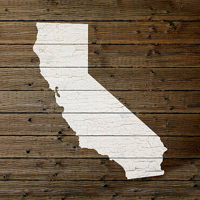 Map Of California State Outline White Distressed Paint On Reclaimed Wood Planks Art Print