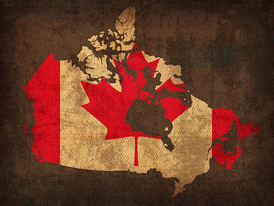 Flag Mixed Media - Map Of Canada With Flag Art On Distressed Worn Canvas by Design Turnpike