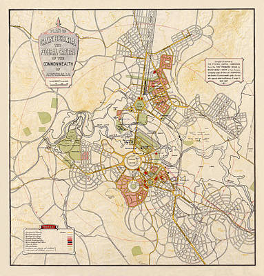 Map Of Canberra 1927 Art Print by Andrew Fare