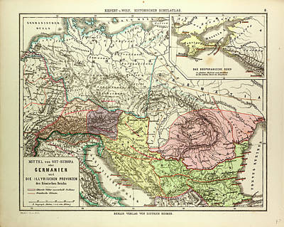 Eastern Europe Drawing - Map Of Central And Eastern Europe During The Roman Empire by English School