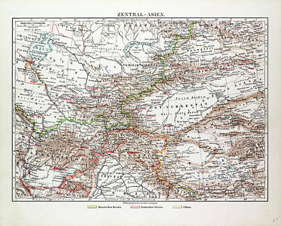 Pakistan Drawing - Map Of Central Asia Afghanistan Pakistan Republic by Indian School