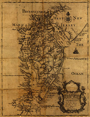 Vintage Map Photograph - Map Of Chesapeake Bay 1774 by Andrew Fare