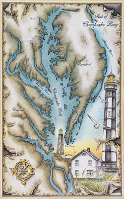 Map Of Chesapeake Bay Original by Mike Williams