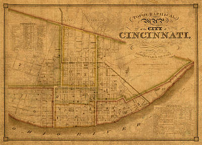 Map Of Cincinnati Ohio In 1841 On Worn Distressed Canvas Parchment Art Print