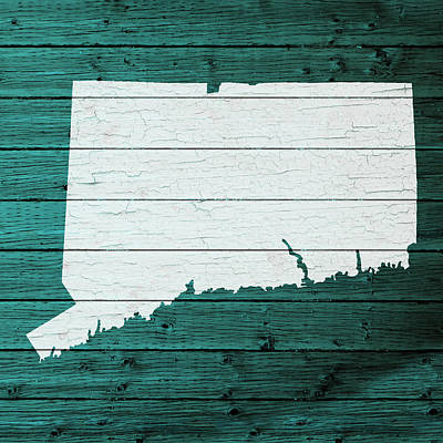 Map Of Connecticut State Outline White Distressed Paint On Reclaimed Wood Planks Art Print by Design Turnpike