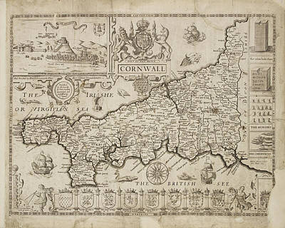 Map Of Cornwall Art Print by British Library