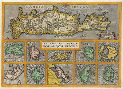 Drawing - Map Of Crete And Ten Other Greek Islands by Abraham Ortelius