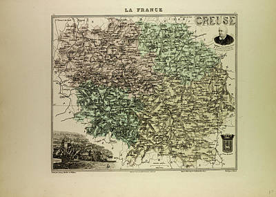 Map Of Creuse 1896 France Art Print by French School