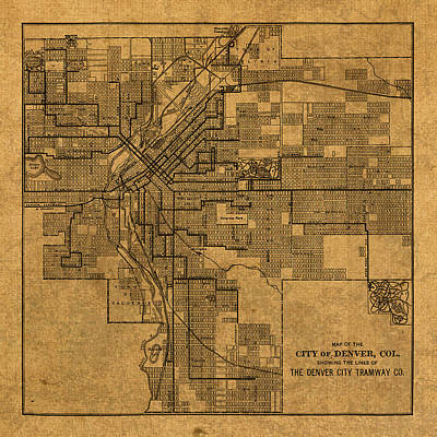 Map Of Denver Colorado City Street Railroad Schematic Cartography Circa 1903 On Worn Canvas Art Print