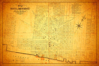 Usa United States Mixed Media - Map Of Detroit Michigan C 1835 by Design Turnpike