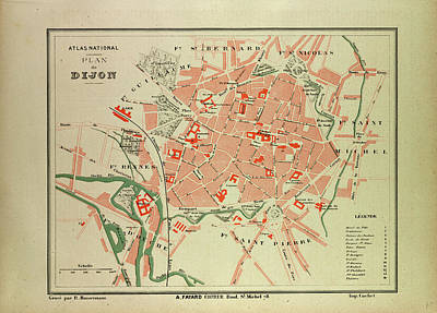 Map Of Dijon France Art Print by French School
