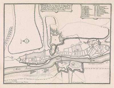 Loon Drawing - Map Of Dinant, 1693, 1693 by Quint Lox