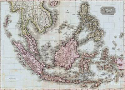 Drawing - Map Of East India Islands by Roberto Prusso