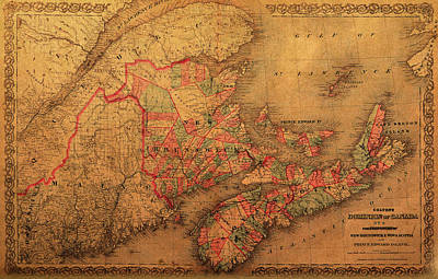 Map Of Eastern Canada Provinces Vintage Atlas On Worn Canvas Print by Design Turnpike