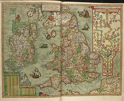 Map Of England And Ireland Drawn In 1606 Art Print by British Library