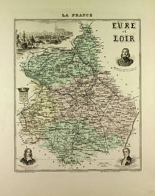 Map Of Eure And Loir 1896 France Art Print by French School