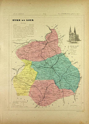 Map Of Eure Et Loir France Art Print by French School