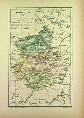 Map Of Eure-et-loire France Art Print by French School