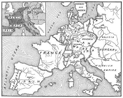 North Sea Painting - Map Of Europe, 1812-1815 by Granger