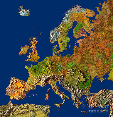 In Relief Photograph - Map Of Europe In Relief by Mike Agliolo