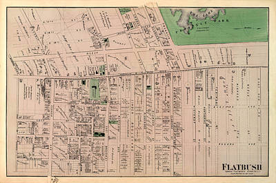 Map Of Flatbush 1873 Art Print by Andrew Fare