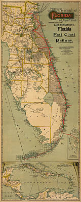 Photograph - Map Of Florida 1896 by Andrew Fare