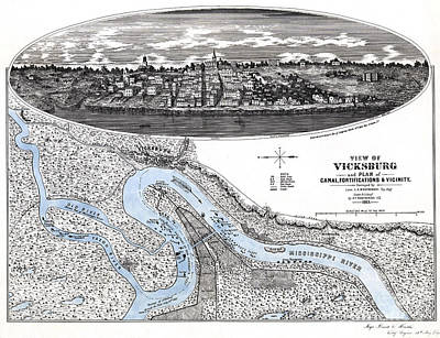 Old Map Painting - Map Of Fortifications In Vicksburg - Mississippi - 1863 by Pablo Romero