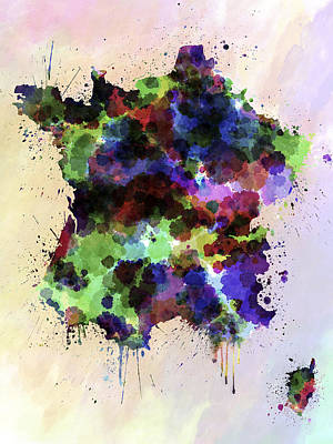 Map Of France Digital Art - Map Of France In Watercolor Style Splash by Pablo Romero