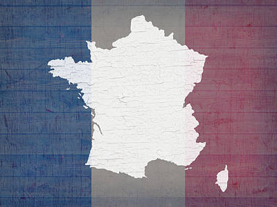 Map Of France In White Old Paint On French Flag Barn Wood  Art Print by Design Turnpike