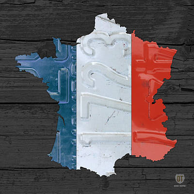 Map Of France Plus French Flag License Plate Art On Gray Wood Board Art Print by Design Turnpike