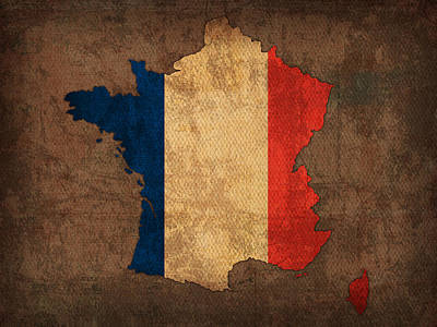 Map Of France With Flag Art On Distressed Worn Canvas Art Print