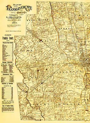 Yesteryear Art Mixed Media - Map Of Franklin Country Ohio 1883 by Mountain Dreams