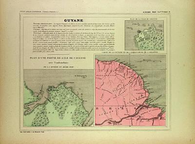 Map Of French Guiana Art Print by English School