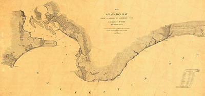 Vintage Map Photograph - Map Of Galveston Bay 1851 by Andrew Fare