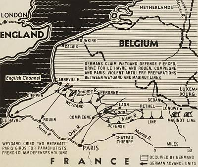 Netherlands Map Photograph - Map Of German World War 2 Invasion by Everett