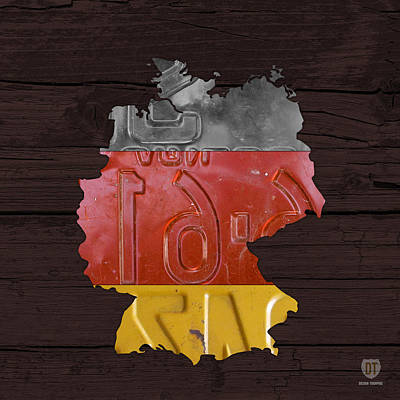 Map Of Germany Plus German Flag License Plate Art On Gray Wood Board Art Print by Design Turnpike